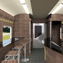 Bar of the intercity train EP3D for Kazakhstan Railways