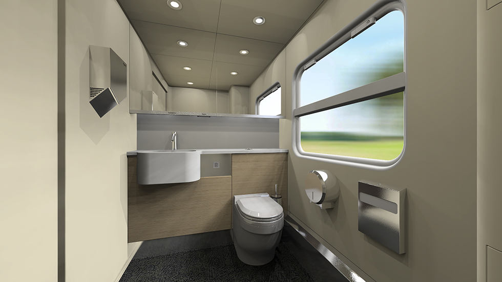 Toilet room of the intercity train EP3D for Kazakhstan Railways